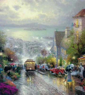 Hyde Street And The Bay, San Francisco (30 X 24 Paper)- Signed By The Artist – PaperLithograph – Limited Edition – 3850S/N – 30x24