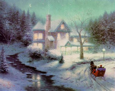 Moonlit Sleighride – Framed (9 X 12 Canvas)- Signed By The Artist – CanvasLithograph – Limited Edition – 1960S/N – 9x12