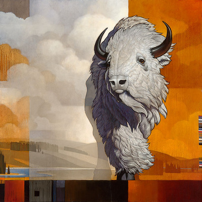 White Bison Of The East- Signed By The Artist – CanvasGiclee  – Limited Edition  – 25S/N  –  22x22