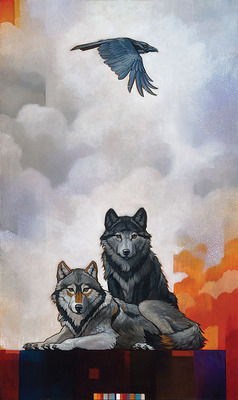 Druid Alphas With Raven- Signed By The Artist – CanvasGiclee  – Limited Edition  – 25S/N  –  30x18