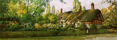 An English Cottage- Signed By The Artist								 – Paper Lithograph – Limited Edition – 850 S/N – 10 x 28