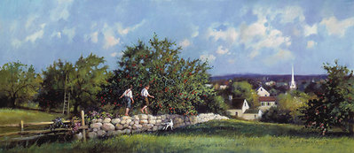Apple Orchard- Signed By The Artist								 – Paper Lithograph – Limited Edition – 1250 S/N – 12 x 22 1/2