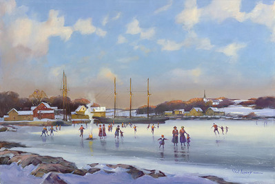 Bay Skaters- Signed By The Artist								 – Canvas Giclee – Limited Edition – 75 S/N – 13 x 20