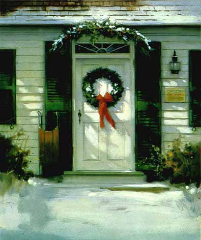 Christmas Door – Remarqued- Signed By The Artist – PaperLithograph – Limited Edition – 100S/N – 11 1/8x9