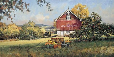 Apple Valley Orchard- Signed By The Artist								 – Paper Lithograph – Limited Edition – 850 S/N – 15 1/8 x 30