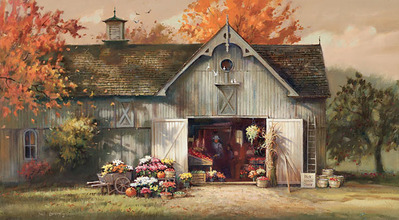 Autumn Barn- Signed By The Artist								 – Canvas Giclee – Limited Edition – 100 S/N – 15 x 27
