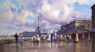 Boardwalk Promenade- Signed By The Artist – PaperLithograph  – Limited Edition  – 1250S/N  –  16 3/4x30