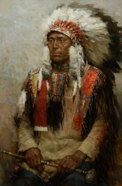 Lakota Warrior- Signed By The Artist – CanvasGiclee  – Limited Edition  – 75S/N  –  15x10