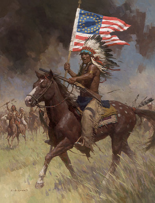 Lakota Warriors, Little Big Horn, June 25, 1876- Signed By The Artist – CanvasGiclee  – Limited Edition  – 35S/N  –  34x26