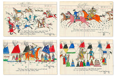 """The Story Of My Great-Grandfather """"Akicita-Hunska"""" (4-Piece Set)- Signed By The Artist – PaperGiclee  – Limited Edition  – 35S/N  –  7 1/2x12"""
