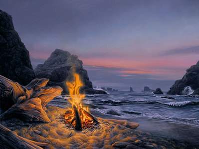 Beach Bonfire- Signed By The Artist								 – Paper Lithograph – Limited Edition – 6500 S/N – 18 x 23 3/4