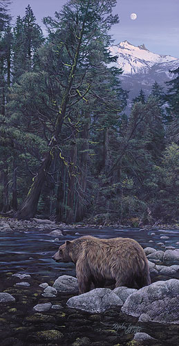 Moonbear Listens To The Earth- Signed By Andrea Lyman – CanvasGiclee – Limited Edition – 200S/N – 21x11