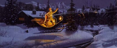 Moonlit Flight On Christmas Night- Signed By The Artist – PaperLithograph – Limited Edition – A/P – 11 7/8x27 3/8 –