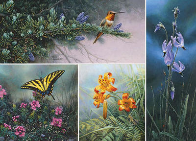 Wildflower Suite – Set Of Four- Signed By Andrea Lyman								 – Canvas Giclee – Limited Edition – 100 S/N – 5 1/4 x 12
