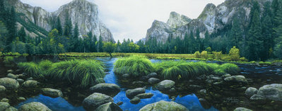 Ahwahnee – The Deep Grass Valley- Signed By Andrea Lyman								 – Canvas Giclee 								 – Limited Edition 								 – A/P 								 –  								18 x 48