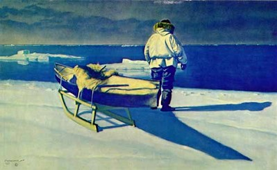 Decision On The Ice Field – Remarqued- Signed By The Artist								 – Paper Lithograph – Limited Edition – 56 A/P – 17 x 27 1/2