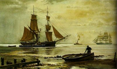 Collier Brig And Barge- Signed By The Artist								 – Paper Lithograph – Limited Edition – 50 A/P – 5 5/8 x 9 7/8