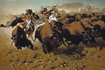 Attack On The Wagon Train- Signed By The Artist								 – Paper Lithograph – Limited Edition – 1400 S/N – 19 1/4 x 28 3/4