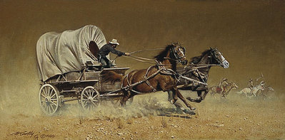 Race With The Hostiles- Signed By The Artist – PaperLithograph – Limited Edition – A/P – 11 1/2x23 3/4
