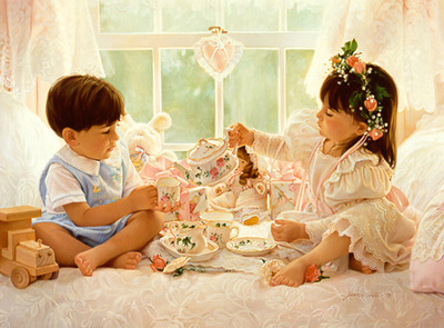 Two For Tea- Signed By The Artist – PaperLithograph  – Limited Edition  – 76A/P  –  12 1/4x16 3/8