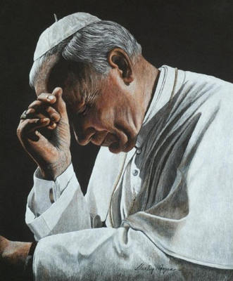 In Prayer – Pope John Paul II- Signed By The Artist – CanvasGiclee  – Limited Edition  – 50A/P  –  24x20