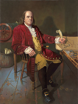 Ben Franklin: Patriot And Renaissance Man- Signed By The Artist – CanvasGiclee  – Limited Edition  – 75S/N  –  28x21