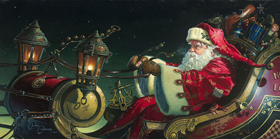 Father Christmas: The Sleigh Ride- Signed By The Artist – CanvasGiclee – Limited Edition – 75S/N – 16x32 –