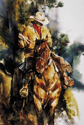 A Cowboy's Morning- Signed By The Artist – CanvasGiclee  – Limited Edition  – 95S/N  –  40x26  –