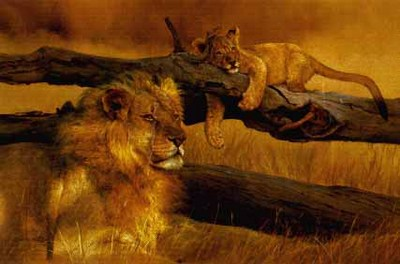 The Waiting Game – Lion And Cub- Signed By The Artist – PaperLithograph  – Limited Edition  – 76A/P  –  20 1/2x31 5/8