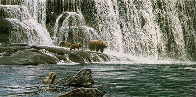 Grizzlies At The Falls- Signed By The Artist – PaperLithograph – Limited Edition – 850S/N – 14 7/8x30 3/4