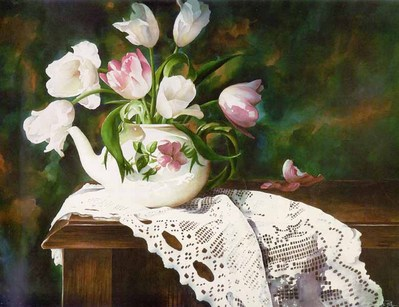 Teatime – Tulips- Signed By The Artist – PaperLithograph – Limited Edition – S/N – 16 5/8x22 3/4 –
