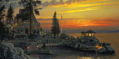An Evening To Remember At Thunderbird Lodge, Lake Tahoe- Signed By The Artist – CanvasGiclee  – Limited Edition  – 250S/N  –  17x34
