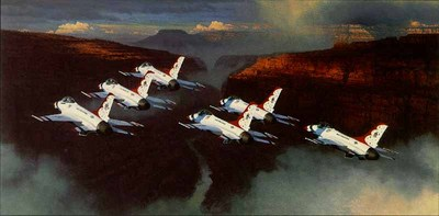 Thunder In The Canyon (F-16)- Signed By The Artist								 – Paper Lithograph – Limited Edition – 1500 S/N – 20 5/8 x 41 1/4 –