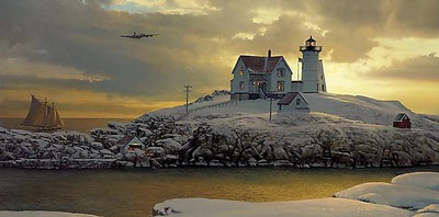 Cape Neddick Dawn- Signed By The Artist								 – Paper Lithograph – Limited Edition – 950 S/N – 30 x 15
