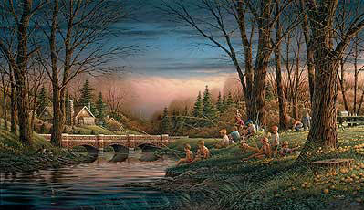 Spring Fishing- Signed By The Artist								 – Canvas Lithograph – Limited Edition – 1950 S/N – 18 1/2 x 32