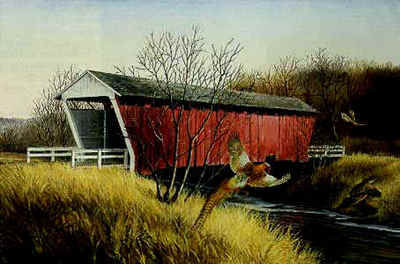 Madison County Bridge – Ring-Necked Pheasants- Signed By The Artist								 – Paper Lithograph – Limited Edition – 950 S/N – 14 x 21