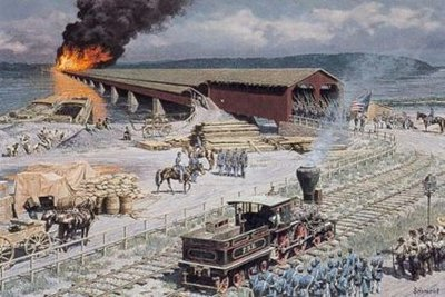Columbia Bridge Burning- Signed By The Artist – PaperLithograph – Limited Edition – 500S/N – 16x24