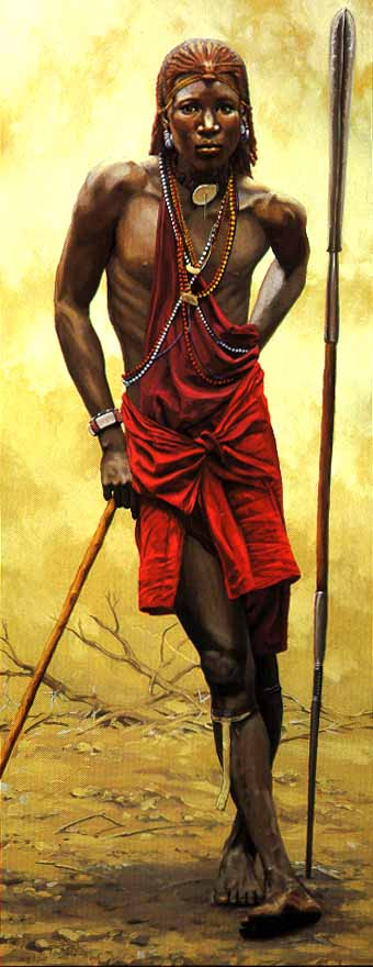 Masai Guardian- Signed By The Artist – CanvasGiclee  – Limited Edition  – 33S/N  –  74x30
