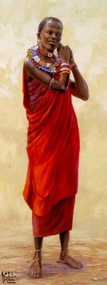 Masai Maiden- Signed By The Artist – CanvasGiclee  – Limited Edition  – 180S/N  –  40x16