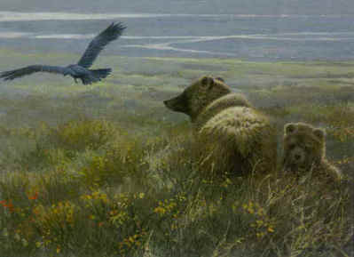 Denali Encounter – Grizzly, Cub And Raven- Signed By The Artist								 – Paper Lithograph – Limited Edition – 76 A/P – 12 x 16