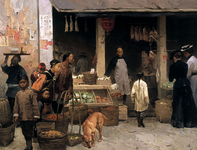 Chinatown Market, San Francisco, 1878- Signed By The Artist – CanvasGiclee – Limited Edition – 50S/N – 27x36