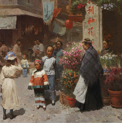 Chinese Flower Shop, San Francisco 1904- Signed By The Artist								 – Canvas Giclee – Limited Edition – 35 S/N – 25 x 25