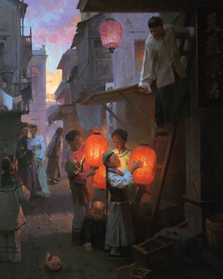 Preparing For The Festival, San Francisco, 1904- Signed By The Artist								 – Canvas Giclee – Limited Edition – 50 S/N – 38 x 30