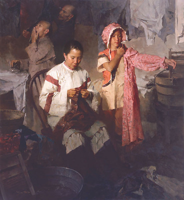 The Calico Dress, Family Laundry, 1906- Signed By The Artist – CanvasGiclee  – Limited Edition  – 35S/N  –  27x25