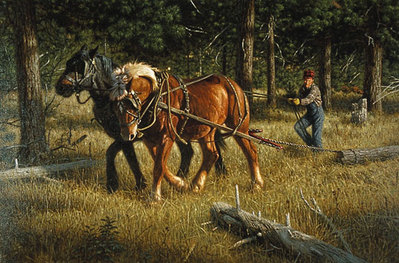 Skidding Logs- Signed By The Artist – PaperLithograph  – Limited Edition  – 1000S/N  –  16 1/2x25