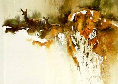 Alert – Doe And Fawn- Signed By The Artist – PaperLithograph  – Limited Edition  – 950S/N  –  22 1/2x29  –