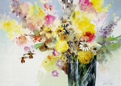 Fresh Cut Flowers- Signed By The Artist								 – Paper Lithograph – Limited Edition – 750 S/N – 14 1/2 x 20 –