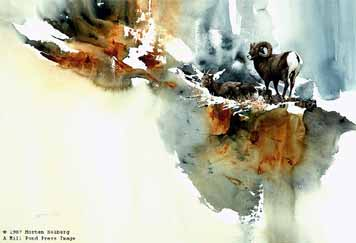 High Country Morning – Bighorn Sheep- Signed By The Artist – PaperLithograph  – Limited Edition  – 950S/N  –  19x27  –