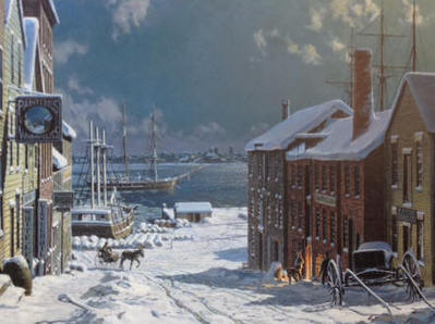 New Bedford, The View To Fairhaven From Centre Street In 1884- Signed By The Artist – PaperLithograph – Limited Edition – 950S/N – 15 3/4x21