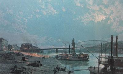 Pittsburgh, Moonlight Over The Monongahela In 1885- Signed By The Artist – PaperLithograph – Limited Edition – 950S/N – 19x32